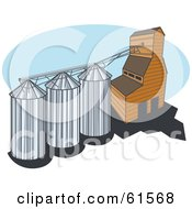 Royalty Free RF Clipart Illustration Of A Grain Elevator With Three Silos