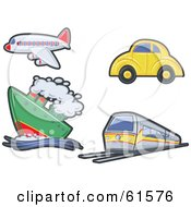 Royalty Free RF Clipart Illustration Of A Digital Collage Of A Plane Cruise Ship Train And Car