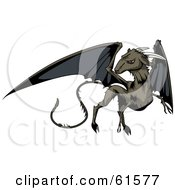 Royalty Free RF Clipart Illustration Of A Black Winged Jersey Devil