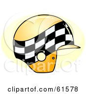 Royalty Free RF Clipart Illustration Of A Checkered Yellow Motor Bike Helmet
