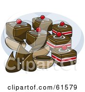Royalty-free (RF) Clipart Illustration of a Group Of Chocolate Candies And Drops by r formidable