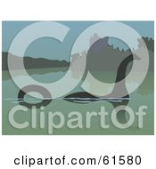 Royalty Free RF Clipart Illustration Of A Silhouetted Loch Ness Monster In The Still Waters by r formidable