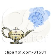 Royalty Free RF Clipart Illustration Of A Golden Genie Lamp With Jewels And A Sexy Female Genie
