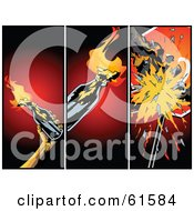Royalty-free (RF) Clipart Illustration of a Background Of Three Panels Of Flaming And Breaking Cocktails Over Red by r formidable
