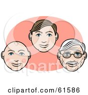 Royalty Free RF Clipart Illustration Of A Males Face Shown As A Baby Young Man And Senior Man