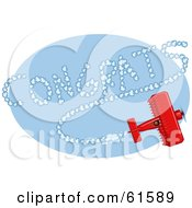 Royalty Free RF Clipart Illustration Of A Red Biplane Making Congrats Vapor Trails While Flying In A Blue Sky