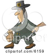 Male Pilgrim Carrying A Blunderbuss And A Grade A Frozen Turkey For Thanksgiving Dinner Clipart Picture