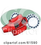 Royalty-free (RF) Clipart Illustration of a Red Toy Viewer With Photo Discs by r formidable