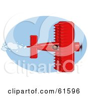 Royalty Free RF Clipart Illustration Of A Red Biplane Flying In A Blue Sky