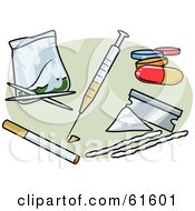Royalty Free RF Clipart Illustration Of A Digital Collage Of Various Needles And Drugs
