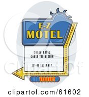 Royalty Free RF Clipart Illustration Of A Blue E Z Motel Sign With An Arrow And Vacancy Light