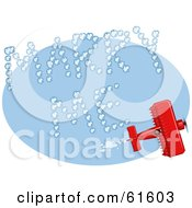 Royalty Free RF Clipart Illustration Of A Red Biplane Making Marry Me Vapor Trails While Flying In A Blue Sky