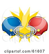 Royalty Free RF Clipart Illustration Of Clashing Red And Blue American Football Helmets