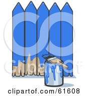 Royalty Free RF Clipart Illustration Of A Brush Resting On A Can Of Paint By A Blue Painted Fence by r formidable