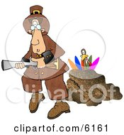 Turkey Behind A Rock Hiding From A Pilgrim With A Blunderbuss Gun Clipart Picture