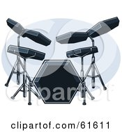 Royalty Free RF Clipart Illustration Of A Black Electric Drum Set