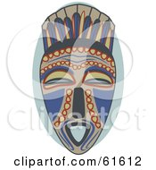 Royalty Free RF Clipart Illustration Of A Blue And Red Tribal Mask