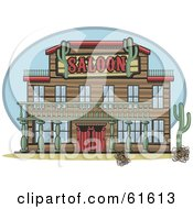 Facade Of A Western Saloon With Cacti Plants And Tumble Weeds
