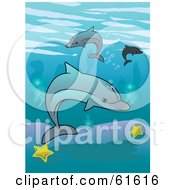 Royalty Free RF Clipart Illustration Of A Group Of Dolphins Swimming Over Starfish