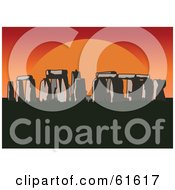 Royalty Free RF Clipart Illustration Of A Large Red And Orange Sun Setting Behind Stonehenge by r formidable