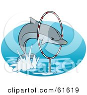Royalty Free RF Clipart Illustration Of A Trained Dolphin Leaping Through A Hoop