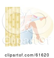 Royalty Free RF Clipart Illustration Of A Woman Shaving Her Legs With A Razor And Cream