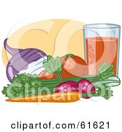 Organic Veggies By A Glass Turnip Tomatoes Celery Carrot And Radish