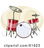 Royalty Free RF Clipart Illustration Of A Red Acoustic Drum Set by r formidable