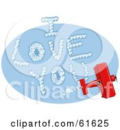 Royalty Free RF Clipart Illustration Of A Red Biplane Making I Love You Vapor Trails While Flying In A Blue Sky