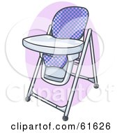 Royalty Free RF Clipart Illustration Of A Checkered High Chair With A Clean Tray