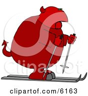 Fat Devil On Skis Clipart Picture by Dennis Cox