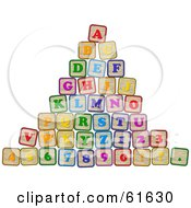 Royalty Free RF Clipart Illustration Of A Pyramid Of Stacked Alphabet And Number Blocks
