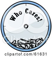 Royalty Free RF Clipart Illustration Of A Broken Blue Wall Clock With Who Cares Text