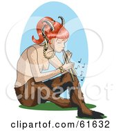 Royalty Free RF Clipart Illustration Of A Red Haired Female Faun Playing A Horn
