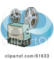 Royalty Free RF Clipart Illustration Of A Retro Film Reel Projector