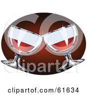 Two Sparkling Red Wine Glasses Toasting