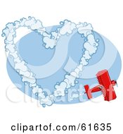 Royalty Free RF Clipart Illustration Of A Red Biplane Making Heart Vapour Trails While Flying In A Blue Sky