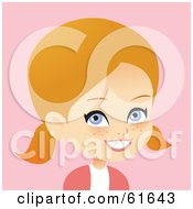 Royalty Free RF Clipart Illustration Of A Little Blond Girl Wearing Her Hair In Pig Tails by Monica