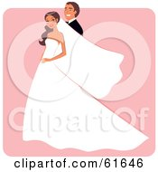 Royalty Free RF Clipart Illustration Of A Happy Groom Posing Behind His Bride by Monica