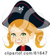 Royalty Free RF Clipart Illustration Of A Cute Blond Girl Dressed As A Pirate For Halloween by Monica