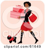 Royalty Free RF Clipart Illustration Of A Happy African American Woman Carrying Boxes And Walking Her Dog While Shopping by Monica