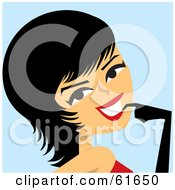 Royalty Free RF Clipart Illustration Of A Flirty Female Tango Dancer With Short Black Hair