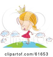 Royalty Free RF Clipart Illustration Of A Happy Princess Girl Wearing A Crown And Standing On Top Of Earth by Monica