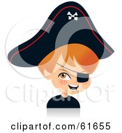 Royalty Free RF Clipart Illustration Of A Cute Red Haired Boy Dressed As A Pirate For Halloween by Monica