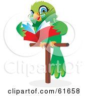 Royalty Free RF Clipart Illustration Of A Green Parrot Wearing Glasses And Reading A Book While On A Perch by Monica