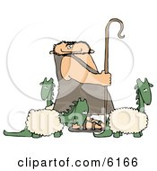 Caveman Shepherd Tending To His Wooly Dinosaurs Clipart Picture