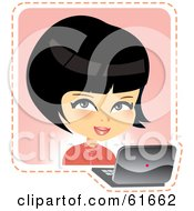 Royalty Free RF Clipart Illustration Of A Little Japanese Girl Using A Laptop by Monica