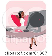 Royalty Free RF Clipart Illustration Of A Corporate Black Businesswoman Leaning Back At Her Office Desk by Monica #COLLC61667-0132