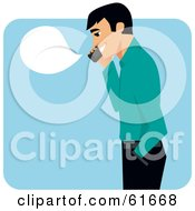 Pleasant Man Talking On A Cell Phone With A Blank Bubble
