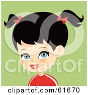 Royalty Free RF Clipart Illustration Of A Blue Eyed Black Haired Girl Wearing A Red Shirt And Bows In Her Pig Tails by Monica